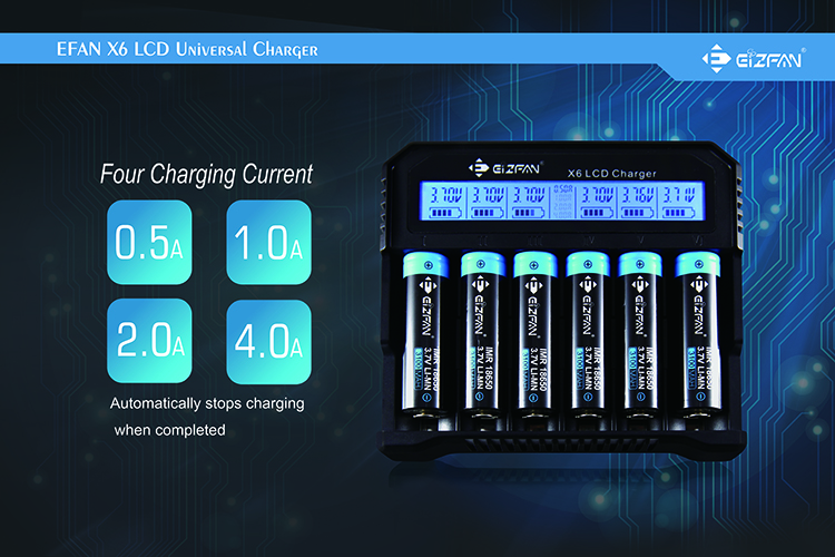 Efan X6 High Speed Digital LCD Battery Charger